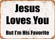 Иисус любит тебя стены жестяная вывеска из металла плакат ретро