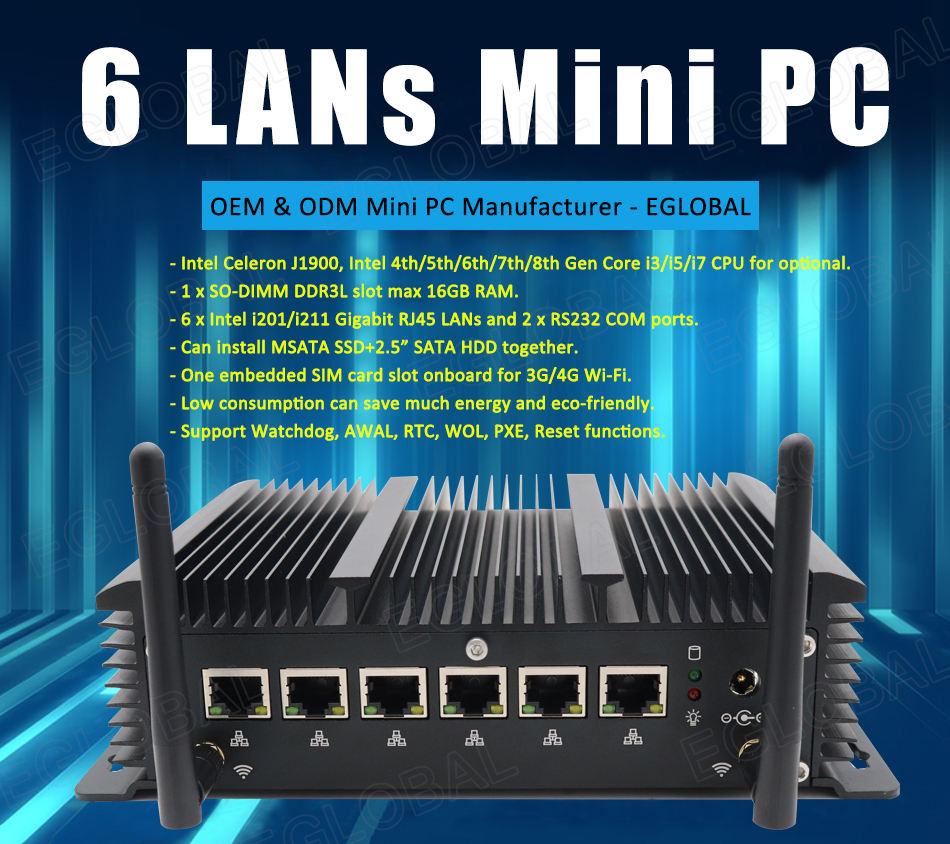 Eglobal Fanless 6LAN Ports Industrial Mini Pc Stable Performance Firewall Pfense Router 2*RS232 HDMI 4G/3G WiFi With SIM Slot