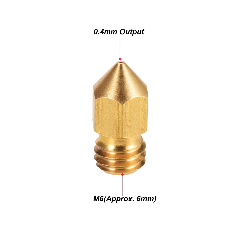 Aibecy 5pcs Estrusore Ugello In Ottone M6 Filo Stampante 0.4 millimetri di Uscita per CR-10 Serie Ender-3 1.75 millimetri Filamento 3D parti della stampante