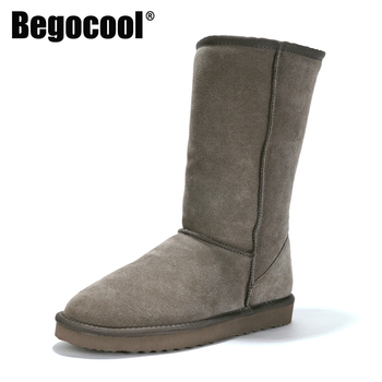 Begocool Classic Womens Snow Boots Genuine Cowhide Leather Australia Warm Winter Boots Woman Shoes Mujer Botas B1501 showfun genuine leather shoes woman grit cowhide solid square heels boots