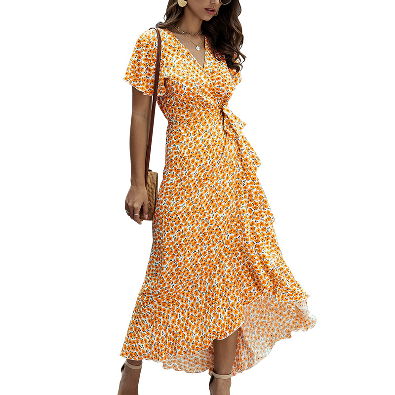 SWQZVT 2020 Fashion Short Sleeve Floral Print Women Dress New Ladies Beach Summer Dress Casual Women Long Maxi Dresses Vestidos (55)
