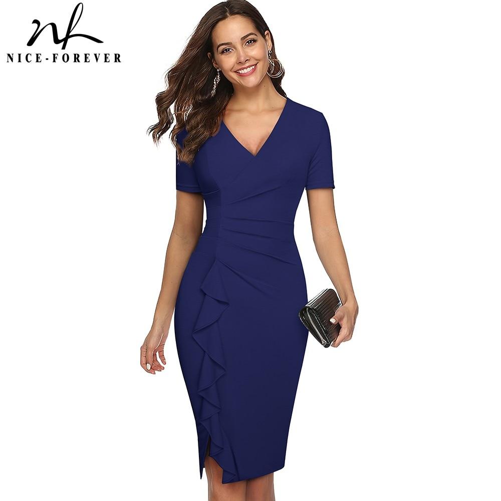 Nice forever Summer Women Elegant Solid Color Ruffle Work Dresses Business