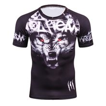 Summer 3D Compression T Shirt Men New Arrival Brand Funny Wolf Men's T-Shirt Top Wholesale Tee Shirts High Quality Quick Drying