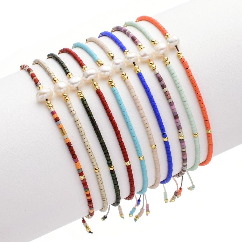 ZMZY Thin Pearl Bracelet MIYUKI Charm Handmade Beads Glass Stone Crystal Bracelets For Women Boho Adjustable Rope Lady Jewelry