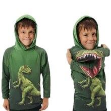 Enfants garçons dinosaures T Shirt printemps et automne enfants à capuche à manches longues pull haut pour enfants vêtements 100% sweat à capuche en coton T Shirt
