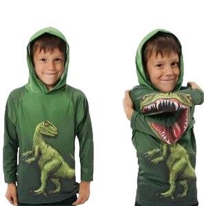 Image 1 - Enfants garçons dinosaures T Shirt printemps et automne enfants à capuche à manches longues pull haut pour enfants vêtements 100% sweat à capuche en coton T Shirt