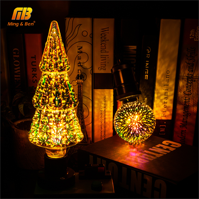 Luce Della Lampadina 3D Decorazione Lampadina Fuochi D'artificio 110 220V ST64 G95 G80 G125 A60 Bottiglia Del Cuore E27 Vacanza Luci della novità Della Lampada di Natale 4