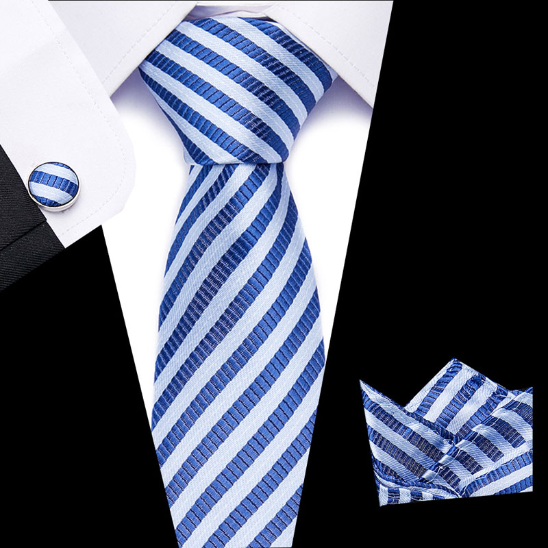 Men Tie Necktie Pocket Square Classic Party Wedding Fashion Striped 3
