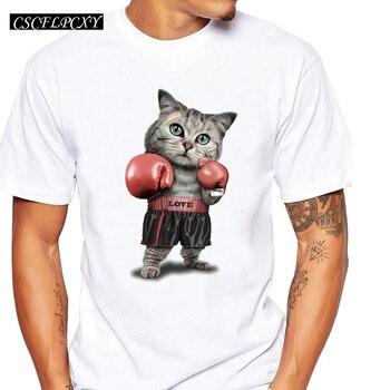 Novedad de 2019, camiseta a la moda con estampado de gato Pugilism para hombre, de manga corta Camisetas Hipster, camisetas de diseño moderno para verano