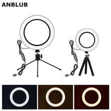 ANBLUB fotoğrafçılık kısılabilir USB LED özçekim halka ışık 3500 5500k makyaj fotoğraf stüdyosu lambası Youtube Video ile canlı Tripod standı