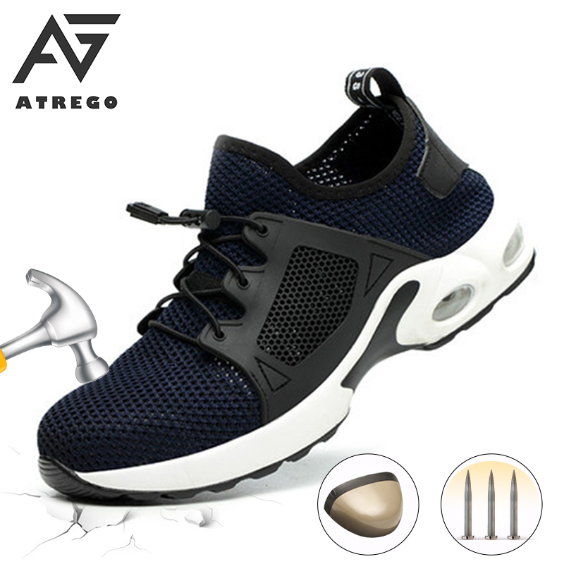 AtreGo Men Steel Toe Breathable Anti-Slip Puncture-Proof  Lightweight Fashion Safety Work Shoes Comfortable Industrial Shoes