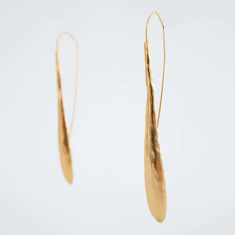 ZA серьги, модные ювелирные изделия, в форме капли воды Форма длинные висячие серьги для женщин простой металлический золото висячие серьги ...