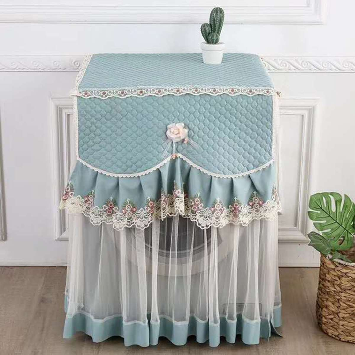 4 Colors Romantic Lace Washing Machine Cover Dustproof Embroidery Floral Home Decor Protector Washing Machine Covers 60X60X83cm