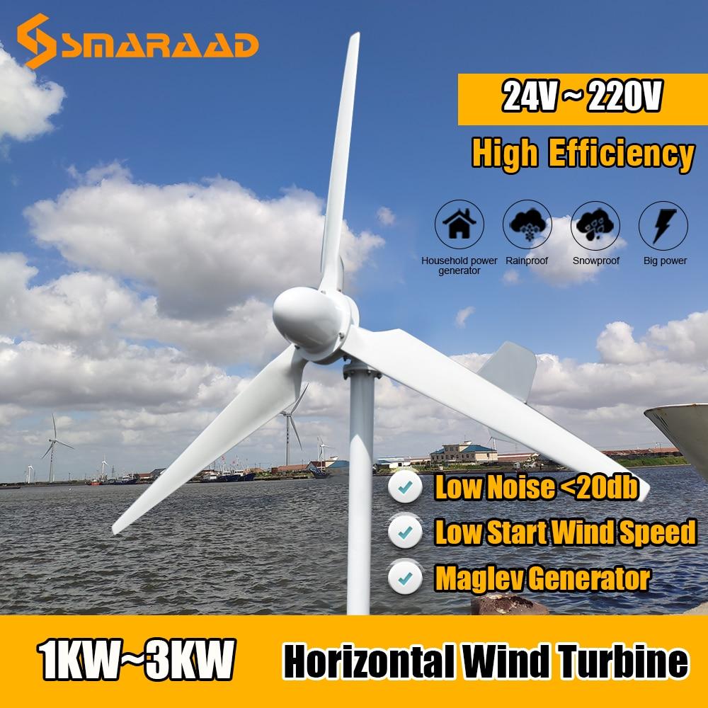 moinho de vento 24v 1000 v do homeuse da energia livre do gerador horizontal da turbina