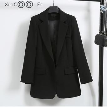 High Qulaity New Autumn Winter Fashion Suits Women Work Wear  Suit Long Sleeve Leisure Slim Version Coat Black Jacket 1