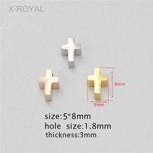 X-ROYAL 10Pcs/lot Stainless Steel DIY Jewelry Making Findings Cross Shape Loose Beads 5*8mm Small Hole Gold Rose Metal Bead