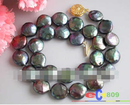 """930 16 """"14mm monety czarny naszyjnik z pereł słodkowodnych"""