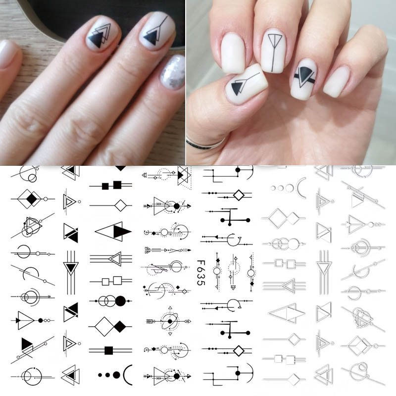 2020 Newest 1pcs Balck White 3D Nail Stickers Sexy Woman Leaf Geometry Adhesive Nail Decals Nail Art Decorations Design Manicure