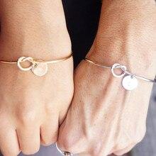 Vnox – bracelet à nœud en acier inoxydable pour femme et homme, pièce de monnaie avec initiales, breloque de Couple, cadeau Unique pour amoureux