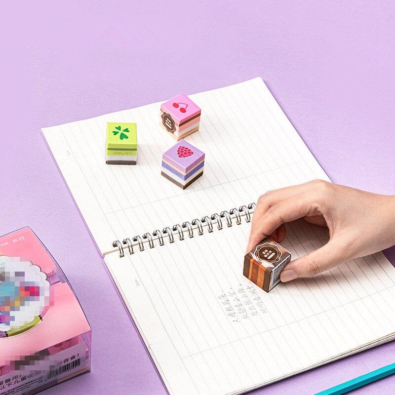 4pcs Four-color Cake Shape Eraser Set Cartoon Cute Pencil Eraser Wipe Clean Erasers Rubber Office School Supplies