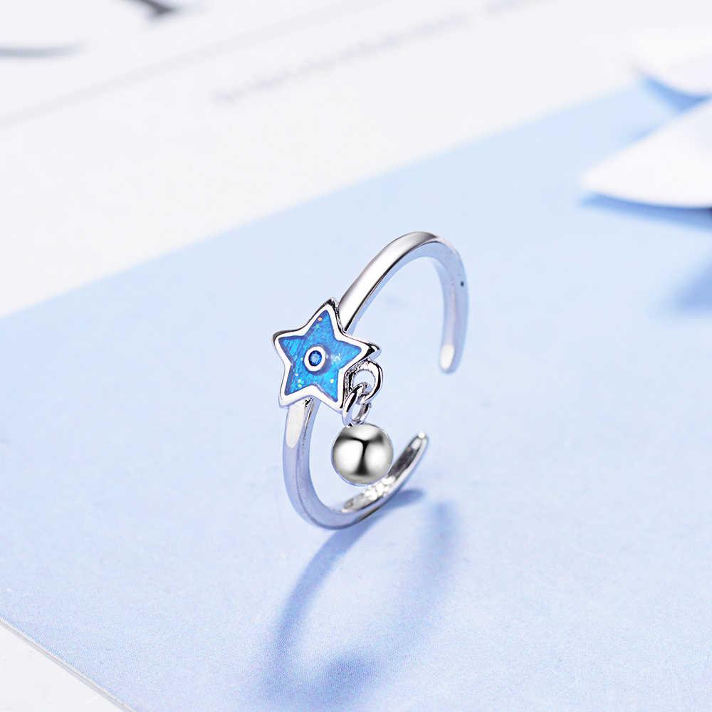 Фантастическое регулируемое кольцо с голубой звездой и подвеской в виде колокольчика, 925 пробы серебряные украшения для девочек, рождественские подарки, S-R344