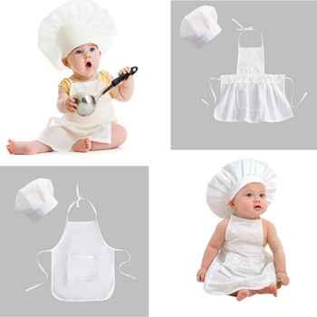 Baby Chef Apron Hat for Kids Costumes  Cook Costume Newborn Photography Prop