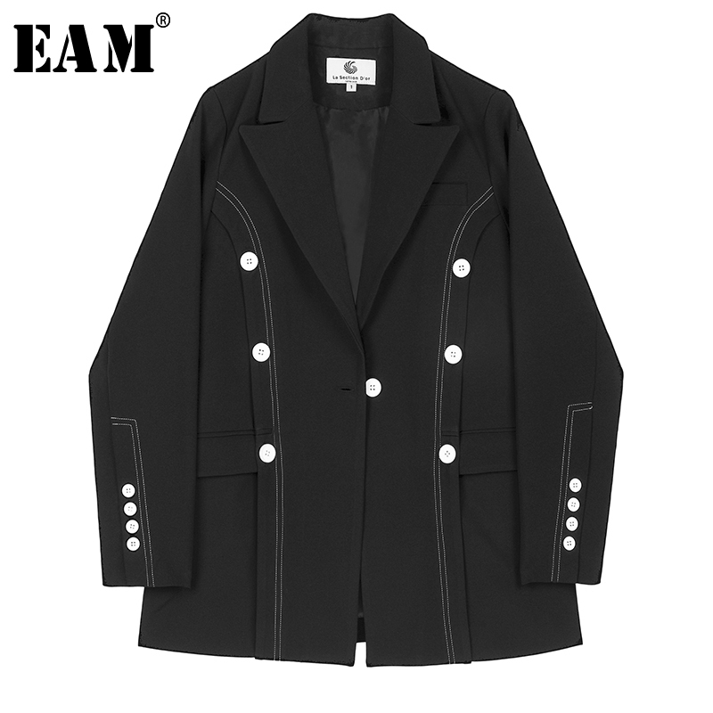 [EAM]  Women Black Double Breast Temperament Blazer New Lapel Long Sleeve Loose Fit  Jacket Fashion Spring Autumn 2019 1B475