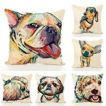Square Cotton Linen colourfu Bull Terrier Painted dog dachshund 3D Cushion Cover Home Sofa Pillow Case