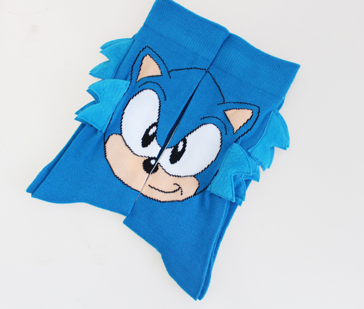 1 Pair Hot Sale Fashion Funny Socks Sonic Pattern Men's Cotton Causal Dress Crew Socks Novelty Party Cool Street Wear