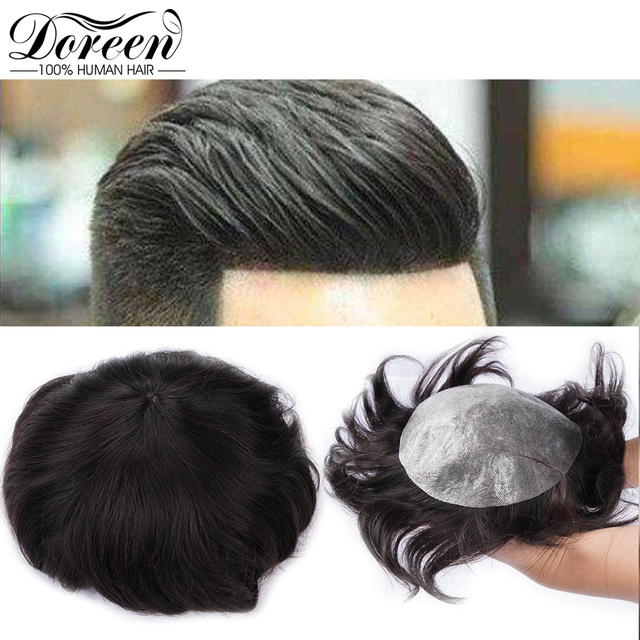 """Doreen European Remy Human Hair Toupee For Men With Transparent Thin skin PU 7"""" x 9"""" Straight Hair Pieces For Men Wig"""