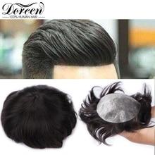 """דורין אירופאי רמי שיער טבעי פאה לגברים עם שקוף דק עור PU 7 """"x 9"""" ישר שיער חתיכות עבור גברים פאה"""