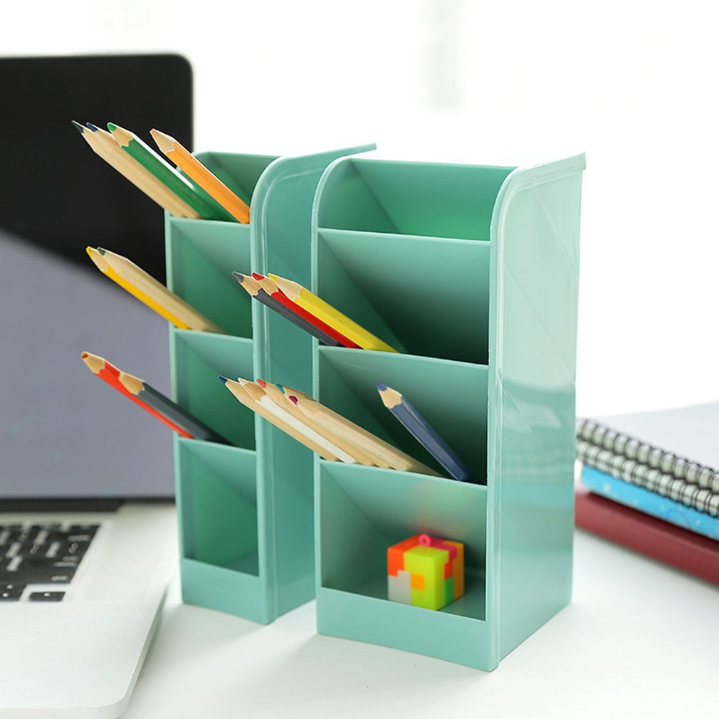 New Creative 4 Grid Sub-grid Plastic Desk Organizer Desktop Office Pen Pencil Holder Makeup Storage Tray