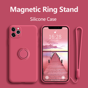 Image 1 - Funda de silicona con soporte para anillo para iPhone, funda magnética para iPhone 11 Pro XR Max X XS Max 8 Plus SE 2020