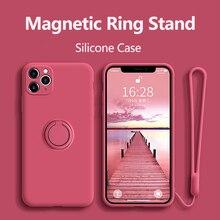 ケースiphone 12プロケースシリコーンリングホルダー磁気カバーiphone 11プロxr max x xs最大8プラスse 2020ケースカバー