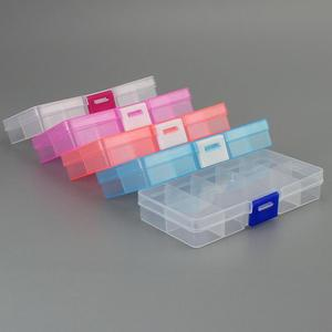 10 Grid Plastic Transparent Storage Box Jewelry Manicure Container Detachable Storage Box Nail Tool Storage Box Storage Box