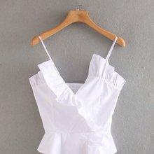 2020 Summer New Women's Solid Color white Strap Poplin zaraing women Blouse
