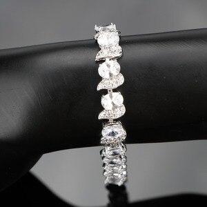 Image 2 - สีขาวเงิน 925 งานแต่งงานเครื่องแต่งกายชุดเครื่องประดับสร้อยข้อมือต่างหูจี้สร้อยคอแหวนชุดเครื่องประดับของขวัญกล่อง