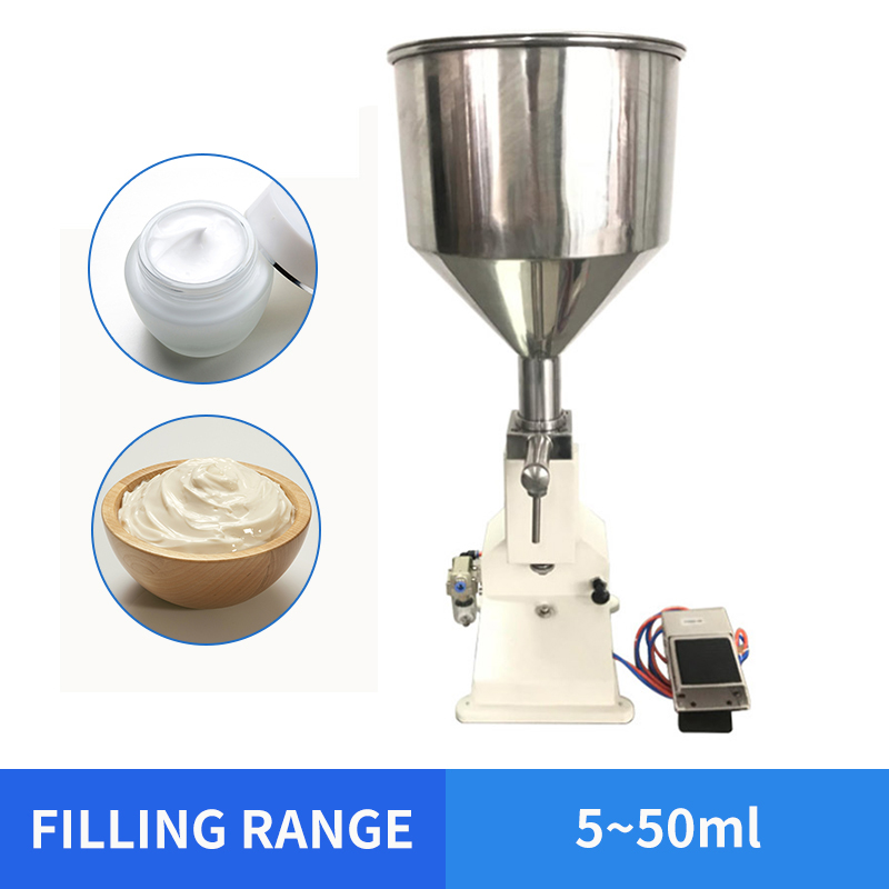 Free Shipping YTK 5~50ml Pneumatic Filling Machine For Cream & Shampoo & Cosmetic With Foot Pedal A02