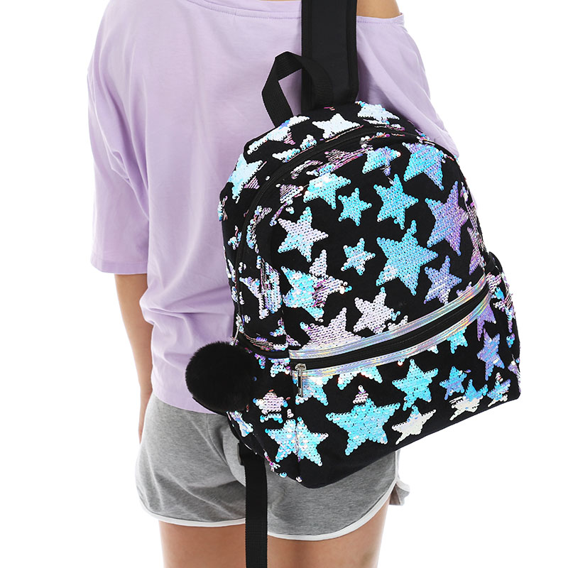Women Sequin Star Larege Backpack  Fashion Black Travel Bag Student Fur Zipper Schoolbag Winter New Plush Bag