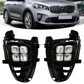 M&C For KIA Sorento 2019 2020 1 Set 4 Eyes LED Car Daytime Running Light Vehicle Front Bumper Driving Fog Lamp Accessories Part