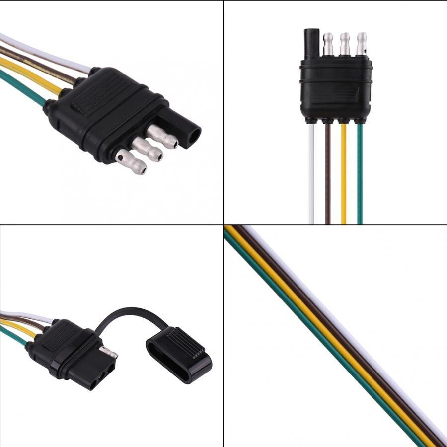 6-24V 4 Pin Flat Trailer Plug Socket Wiring Connector Adapter for Caravan Towbar Towing Trailer Plug