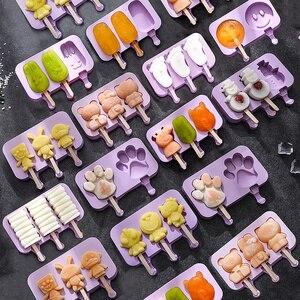 Силиконовые формы для Фруктового мороженого DIY формы для мороженого с 50 Деревянными Палочками крышки BPA-Free Дети Домашний Торт Мороженое при...