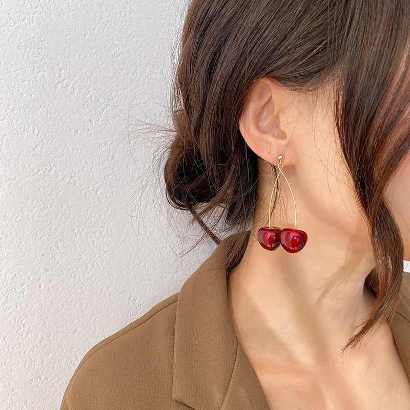 AOMU S925 Sterling Pin Autumn Winter New Wine Red Cherry Cute Fruit Long Drop Earrings For Women Vintage Pendientes Gifts