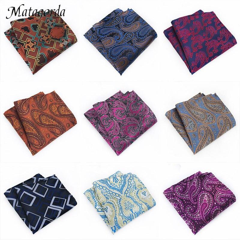 Matagorda Variety Of Trendy Men Hanky 100%Silk Pocket Squared Handkerchief Paisley Pringting Cashew Tie Cocktail Cravat Gravata