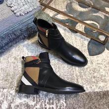 Shoe women  2019 British Cowskin Chequered Naked Boots Womens Coarse-heeled Coloured Short Barrel Martin