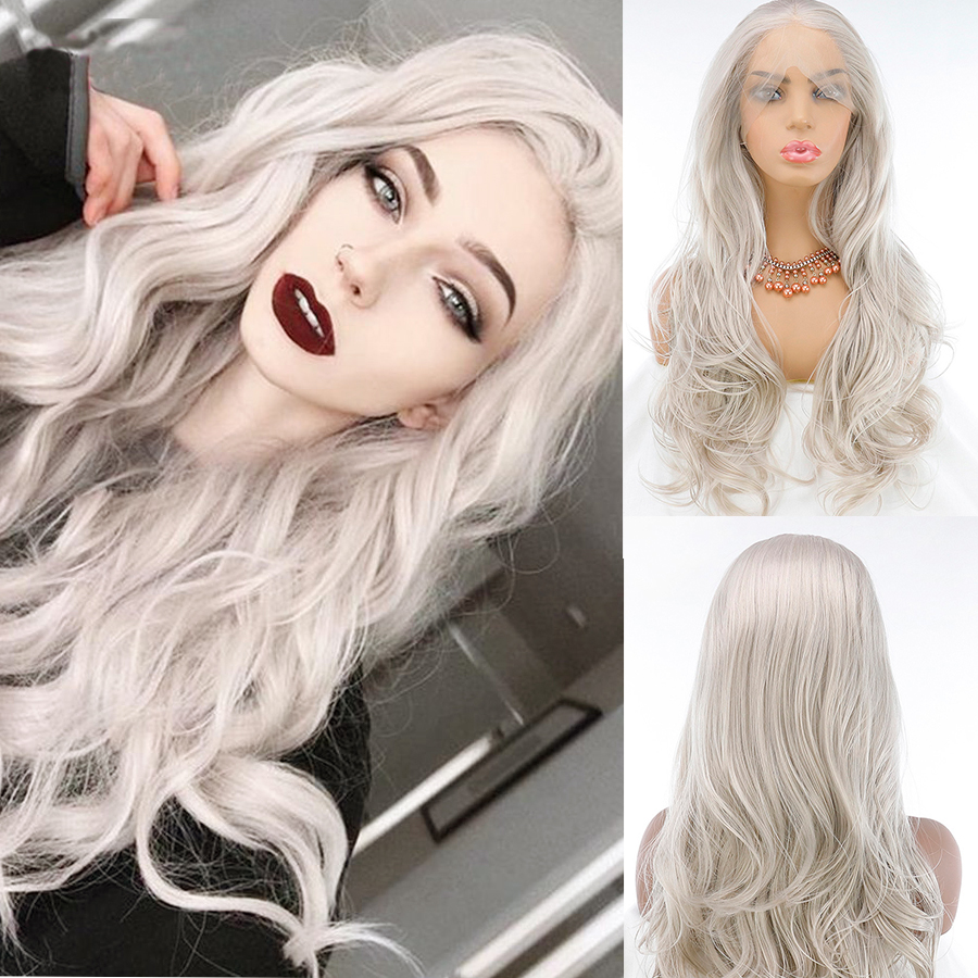 Fantasy Beauty Ash  Blonde Lace Front Wigs Long Wave Synthetic Hair Wigs Natural Hairline Platinum Blonde  Heat Resistant Hair