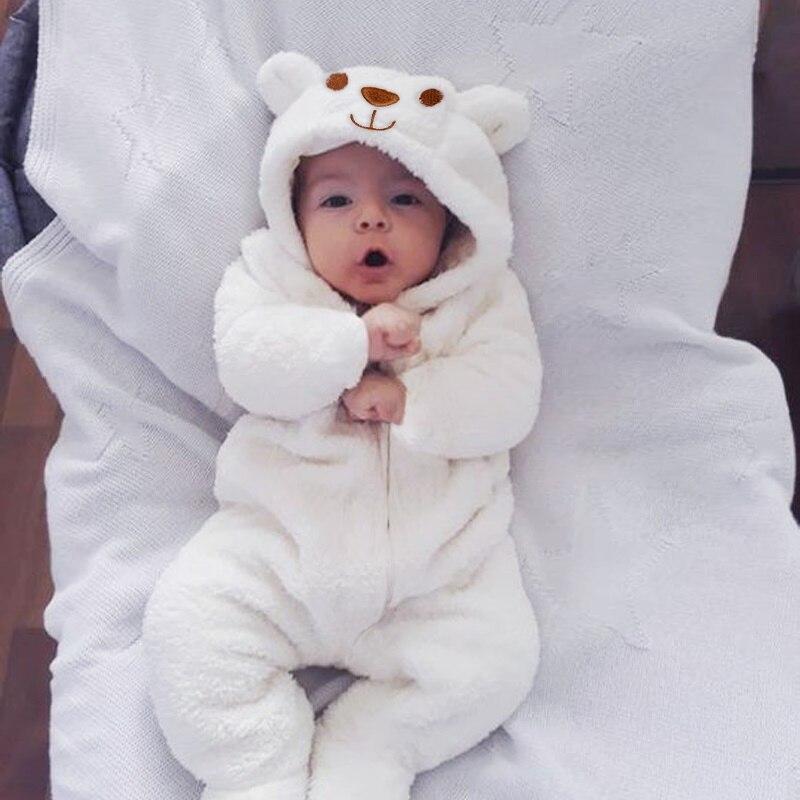 2021 New Cute BABY Newborn Baby Boy Girl Clothes Long Sleeve Hoddies Bear Zipper Baby Romper Clothes Autumn Winter Wear 0-18M