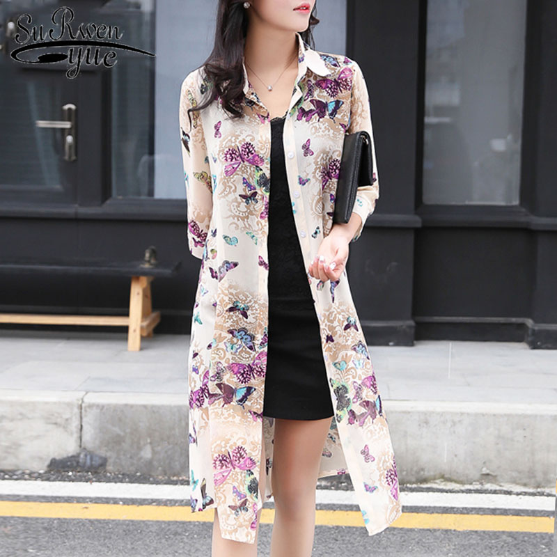 Summer Sun Protection Women Long Blouses Super Thin Floral Chiffon Cardigan Half Sleeve Loose Flower Print Blouse Shirts 4152 50