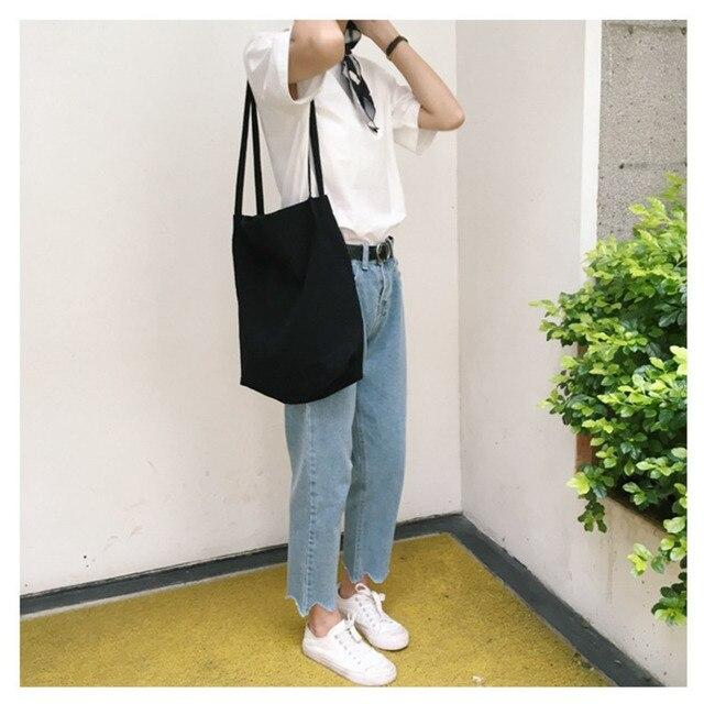 Women Canvas Shoulder Shopper Bags Eco Reusable Shopping Bag Cotton Cloth Tote Bags for Women 2020 Grocery Bag Ladies Handbags 3