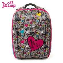 Delune Brand Kids Waterproof Orthopedic Backpack Cartoon Schoolbag High Quality 5-9 Year Children Gi